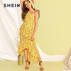Image 5 - SHEIN Boho Yellow One Shoulder Layered Asymmetrical Ruffle Hem Dress Women Fit and Flare Elegant Summer Long Dresses