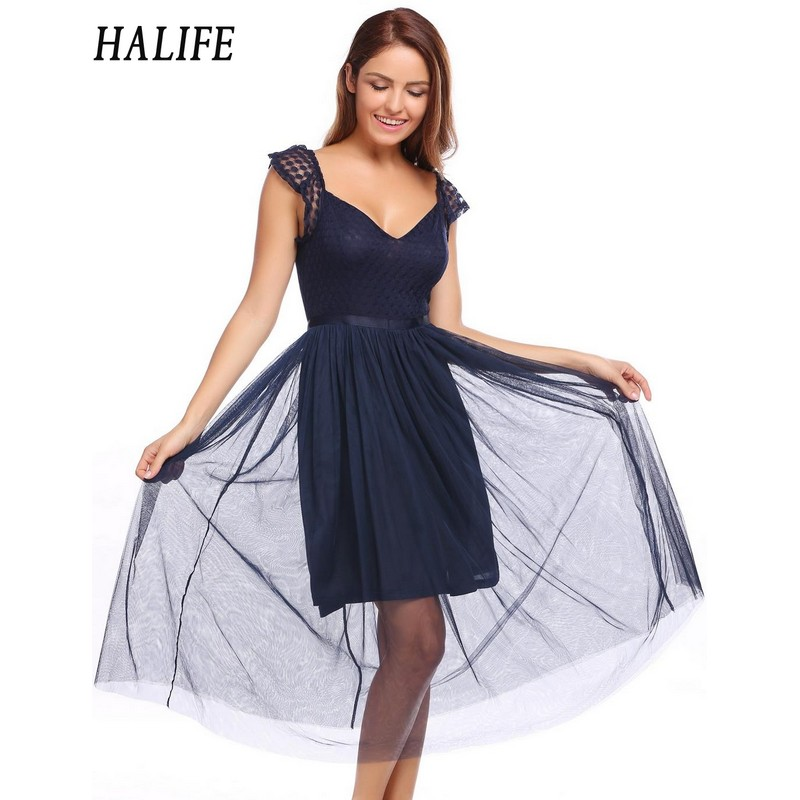 2e34343d2f723 US $36.78 |HALIFE Runway Women Mesh Patchwork Black Lace Backless Dress  Sexy Cap Sleeve V Neck Multi Layered Midi Tulle Party Dress S4-in Dresses  from ...