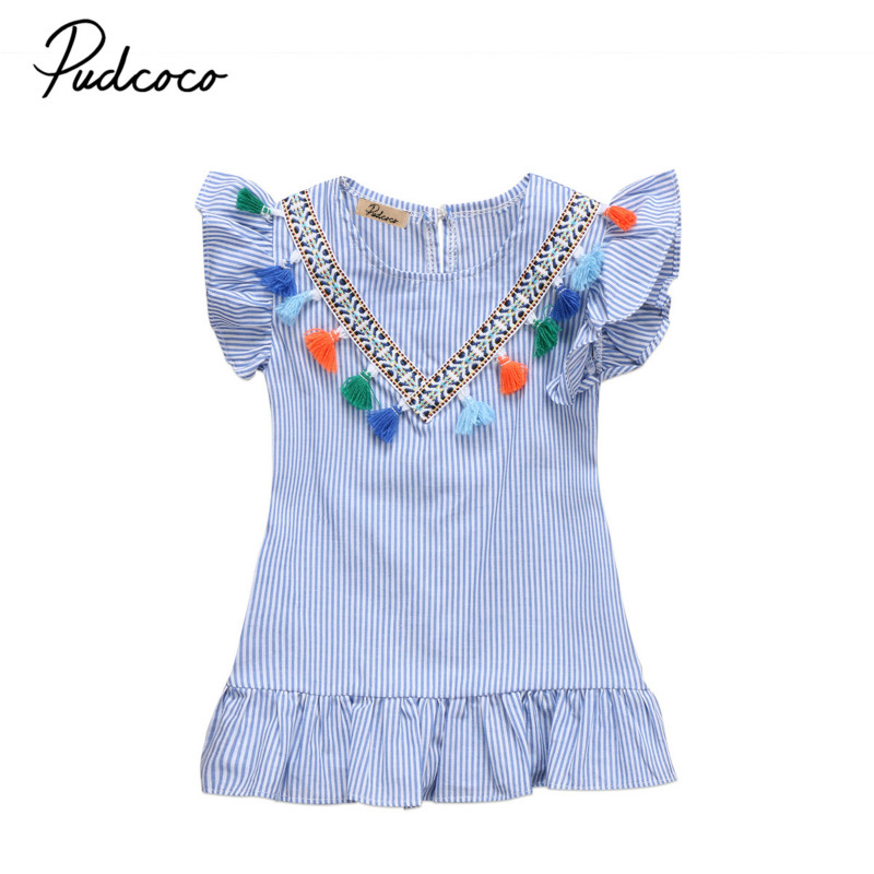 Princess Toddler Kids Baby Girls Retro Beach Striped Summer Tassels Mini Dress Party Wedding Pageant Dress Sundress Clothes 1-6Y