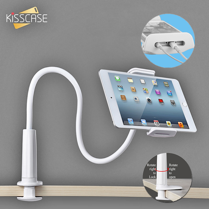 KISSCASE Flexible Rotate Long Arm Lazy <font><b>Phone</b></font> Holder For iPhone Samsung Tablet Mount Bracket <font><b>Stand</b></font> Holder for <font><b>Desk</b></font> Bed Clip White