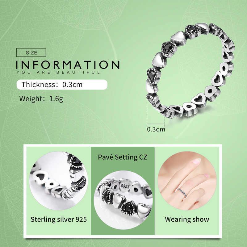 BAMOER oryginalna 925 srebro pierścionek do noszenia warstwowego serce czarne pierścionki z kwadratowymi cyrkoniamii dla kobiet biżuteria na rocznicę ślubu Anel SCR140