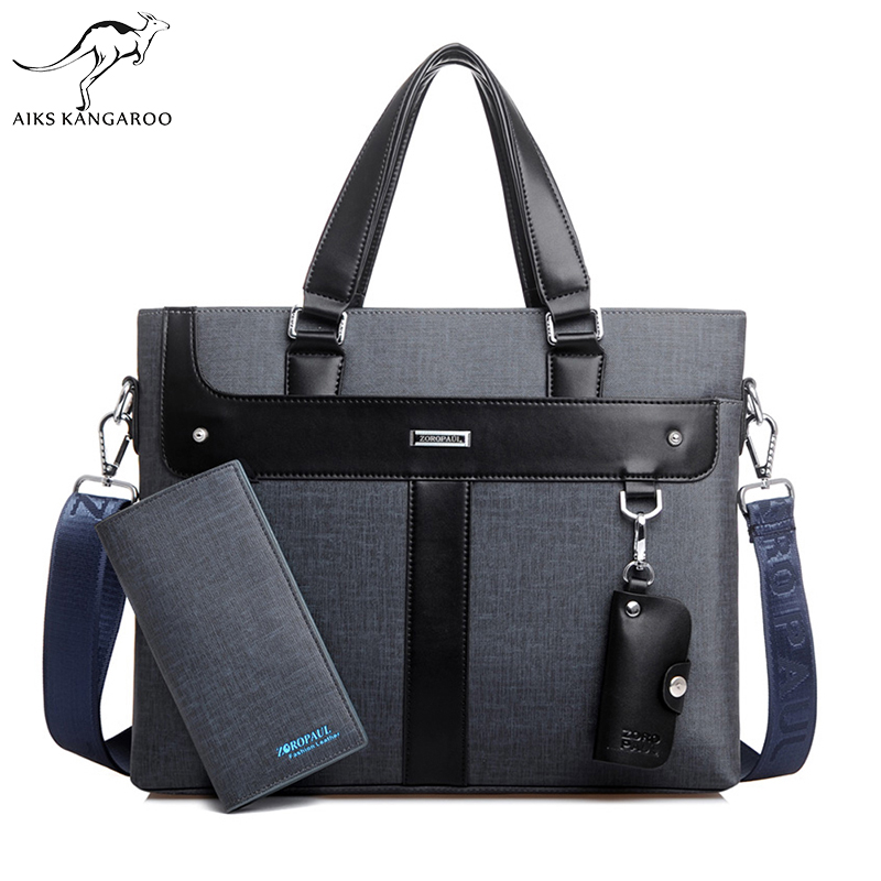 Aiks Kangaroo 2018 Men Leather soft Handbag Volume
