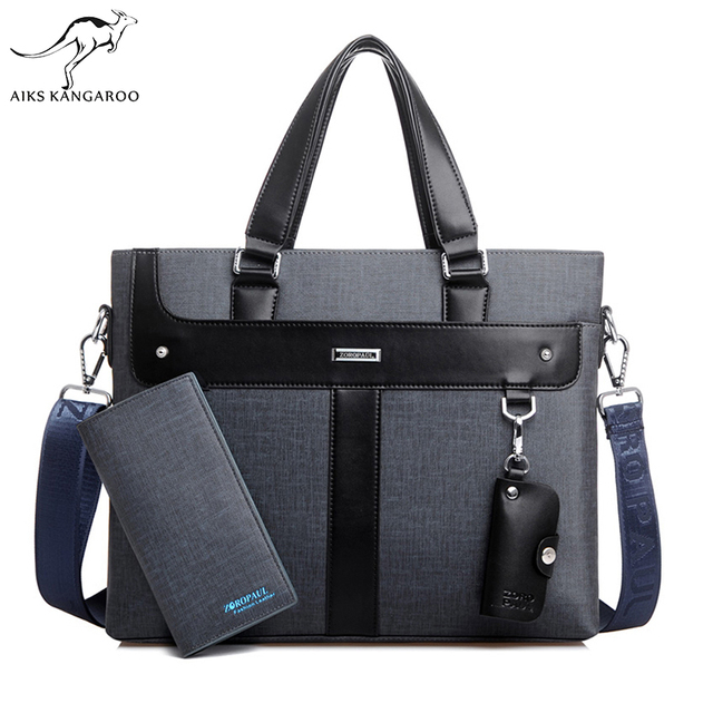 Aiks Kangaroo 2018 Men Leather soft Handbag Volume Business Briefcase Men s Top Handle Fashion Daily