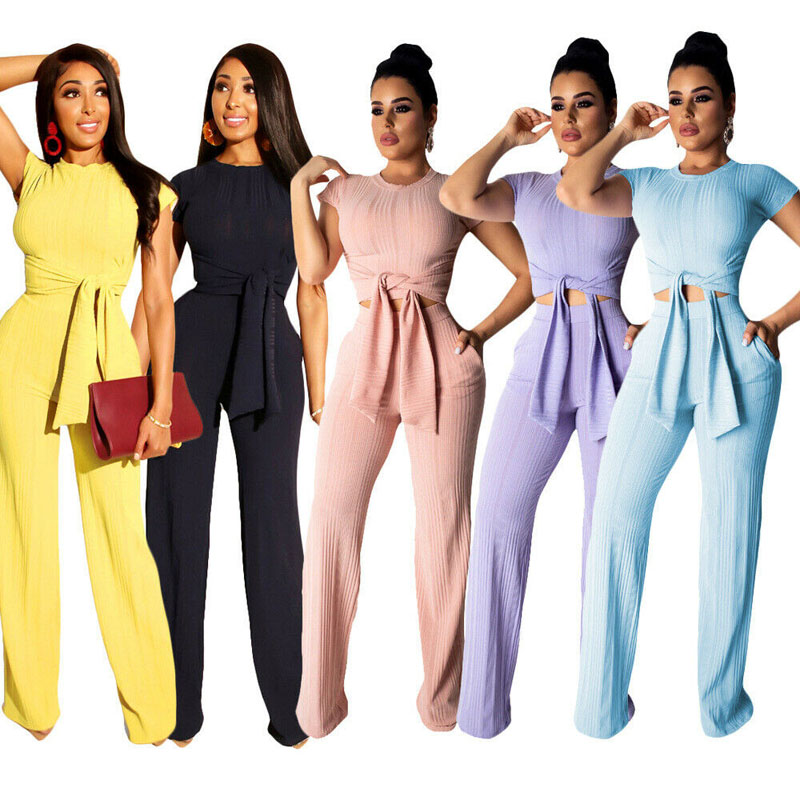 Women 2 Piece Outfits Short Sleeve Crop Top Pant Set Slim Casual Jumpsuit Outfit Set Rompers Solid High Wasit Belt Long Pants