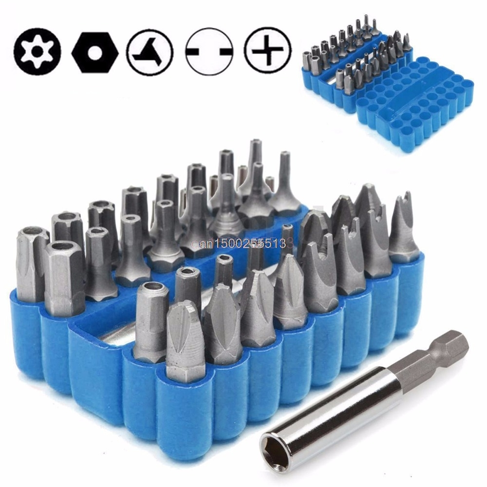 33Pcs Security Tamper Proof Spanner Bit Torx Screwdriver + Hex Holder Rod Set free pp proskit sd 2310 100 pieces tamper proof bit set torq torx hex star spanner tri wing electric screwdriver magnetic tools