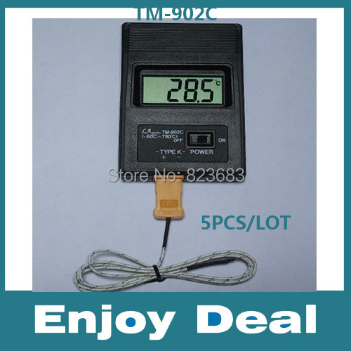 5PCS/lot K Type Digital Thermometer / thermodetector TM902C + Thermocouple Probe