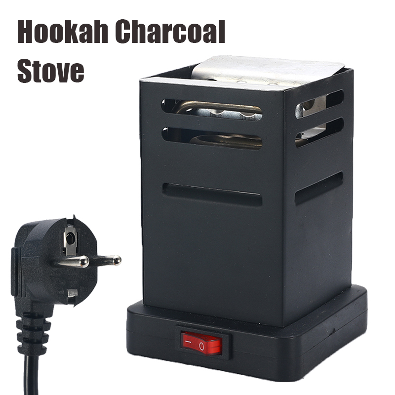 Shisha Hookah Charcoal Stove Heater Mini Square Charcoal Oven Hot Plate Coal Burner Pipes Accessories with EU Plug Cable Black