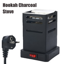 Shisha Hookah Charcoal Stove Heater Mini Square Charcoal Oven Hot Plate Coal Burner Pipes Accessories with EU Plug Cable Black(China)
