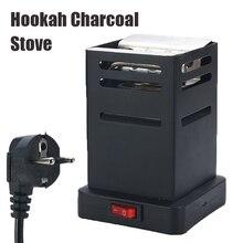 Shisha Hookah Charcoal Stove Heater Mini Square Charcoal Oven Hot Plate Coal Burner Pipes Accessories with EU Plug Cable Black