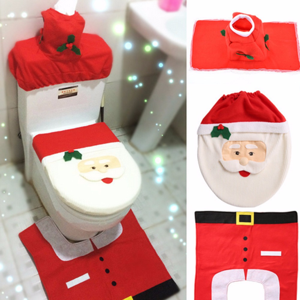 Christmas Decorations Happy Santa Toilet Seat Cover And Rug Bathroom Set Snowman Party In Tree Toppers From Home Garden