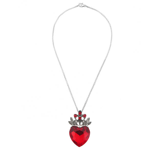 Us 7 72 25 Off 2pcs Valentine S Day Gift Evie Necklace Descendants Red Heart Crown Queen Of Hearts Costume Fan Women Jewelry In