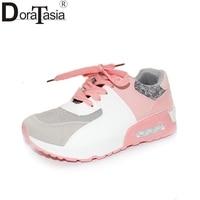 DoraTasia 2017 Fashion Mixed Color Lace Up Woman Vulcanize Shoes Leisure Platform Comfortable Sole Casual Shoes