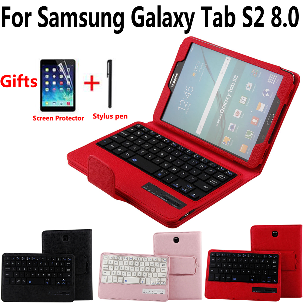 Detach Wireless Bluetooth Keyboard Case Cover for Samsung Galaxy Tab S2 8/8.0 T710 T715 T713 T719 with Screen Protector Film PenDetach Wireless Bluetooth Keyboard Case Cover for Samsung Galaxy Tab S2 8/8.0 T710 T715 T713 T719 with Screen Protector Film Pen