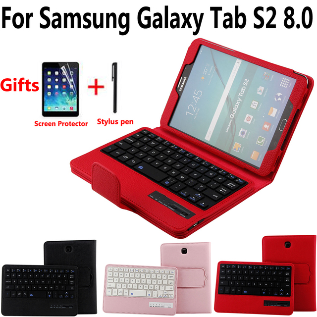 Detach Wireless Bluetooth Keyboard Case Cover for Samsung Galaxy Tab S2 8/8.0 T710 T715 T713 T719 with Screen Protector Film Pen