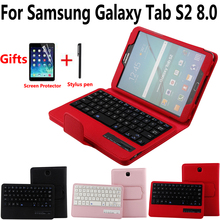 Stacca Tastiera Senza Fili di Bluetooth Della Copertura di Caso per Samsung Galaxy Tab S2 8/8.0 T710 T715 T713 T719 con Pellicola Della Protezione Dello Schermo Della Penna