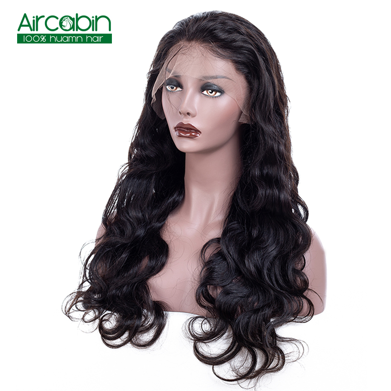 Brazilian Full Lace Human Hair Wigs Body Wave Full Lace Wigs Pre-Plucked With Baby Hair AirCabin Remy Hair Wigs Natural Black
