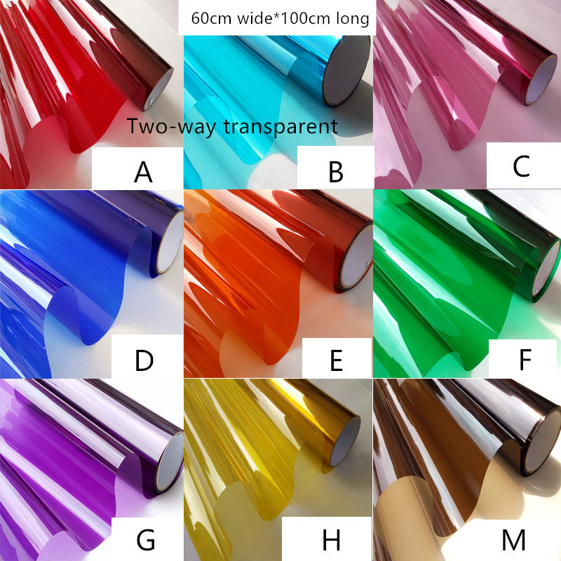 60cmX100cm Colored decorative glass film shade film decoration film window stickers Specials tinting film Red yellow blue green