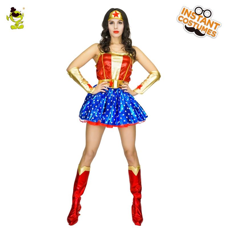 Sexy Wonder Woman Costumes Carnival Party Deluxe Wonder Girls Decoration Fancy Dress Adult Women Star Printed Wonder Hero Dress