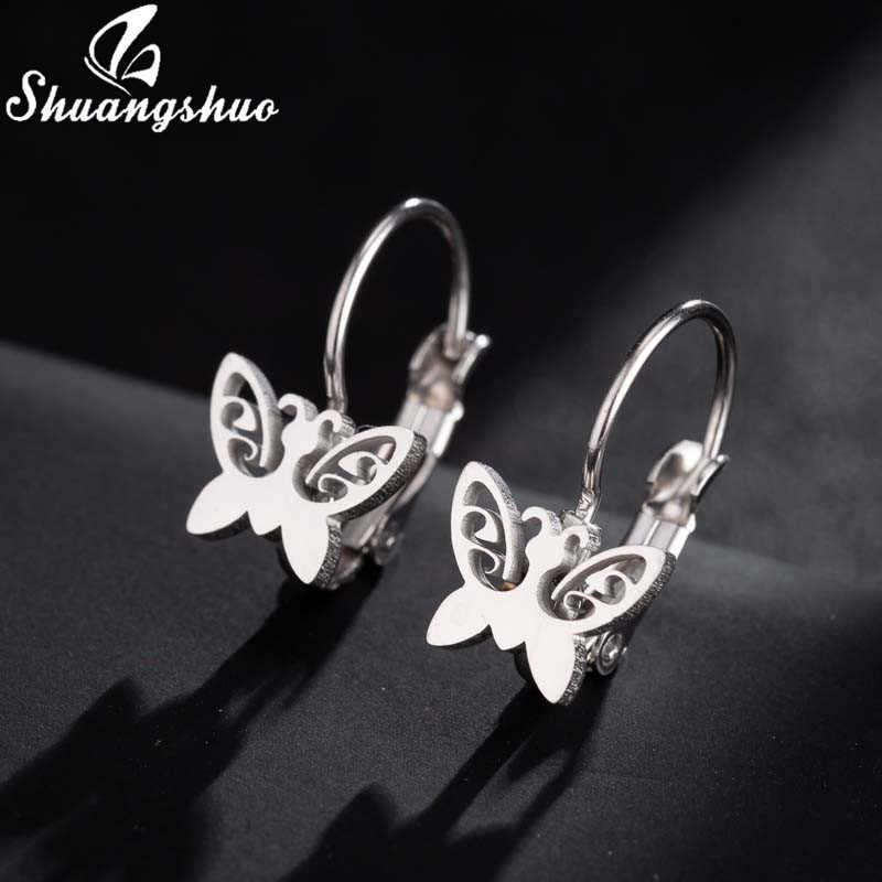 Shuangshuo Punk pendientes de mariposa de Mickey de acero inoxidable para mujer aretes de animales de dibujos animados de oro joyería para niños piercing de oreja