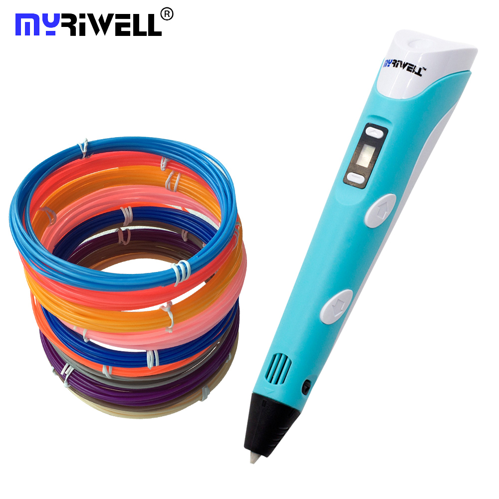with 100m filament ABS/PLA DIY 3D Printing Pen LED/LCD Screen 3D Pen Painting Pen Creative Toy Gift For Kids Design Drawing myriwell original 3d pen smart diy 3d printing pen with free abs filament creative gift for kids design drawing