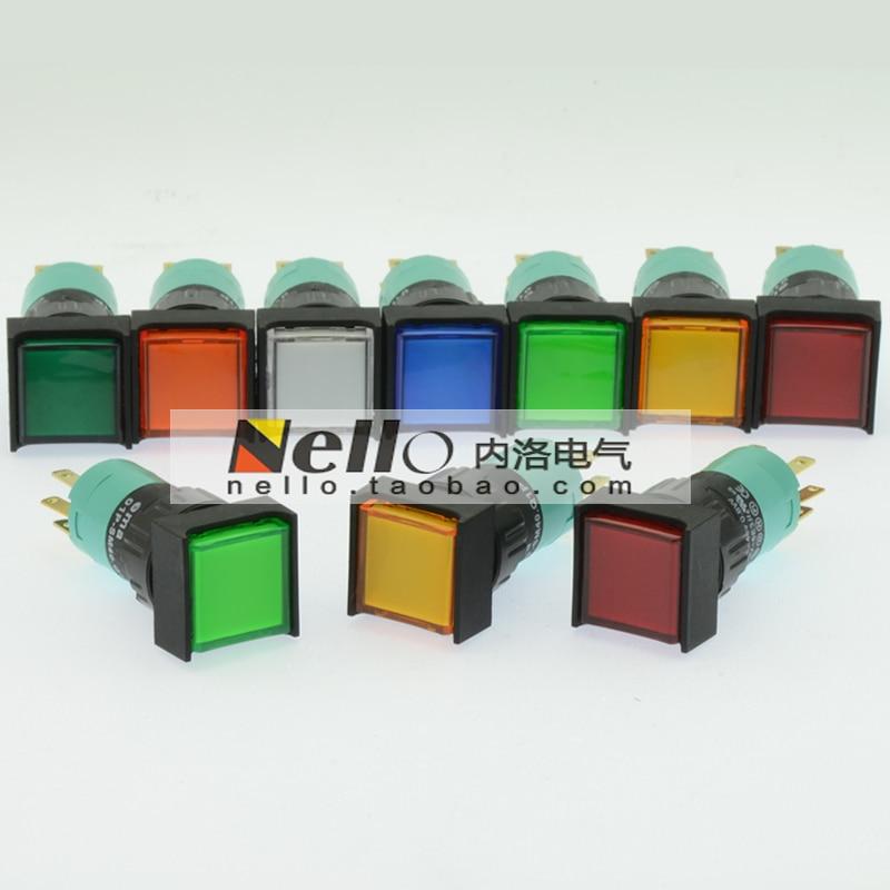 [SA]EMA 16mm illuminated pushbutton switch self-locking 01P-SA40.Q1P square LED lights 1C / O--10pcs/lot