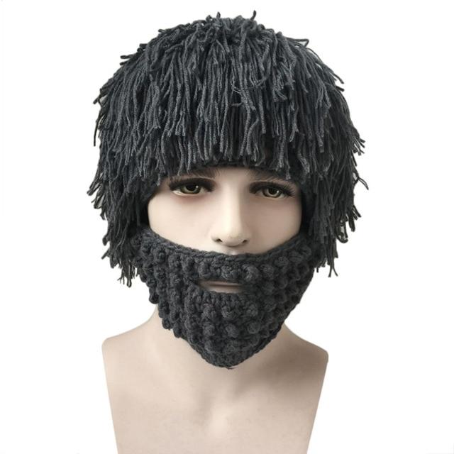 70013ac7ae4 Halloween Men Winter Fake Wigs Knit Wool Face Mask Hat Hobo Cap Beanie 2016  Hot Sale