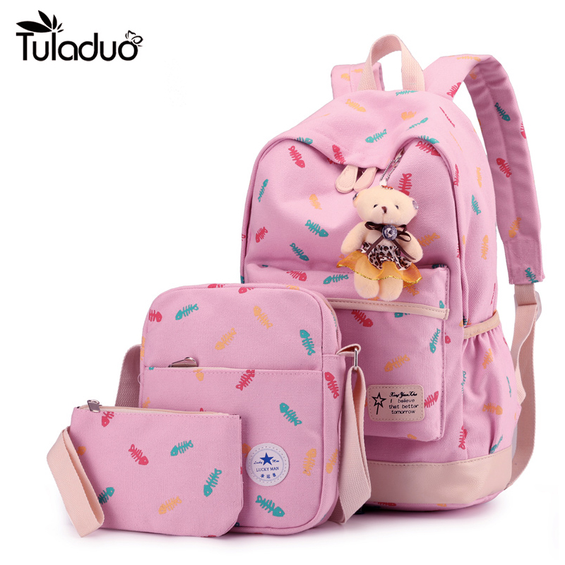 Composite Bagpack Set With Bear Women Backpacks Fashion Nylon Shoulder Bag Multi Color Small Backpack School Bags for girl Kids