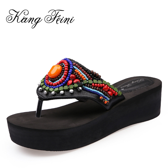 d775c427dd95a5 KANG FEINI 2017 Chinese Style New Summer Women Beach Flip Flops Fashion  Bells String Bead Shoes Woman Wedges Platform Slippers