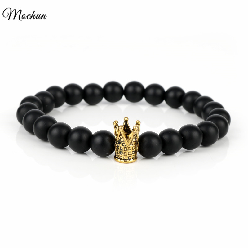 MQCHUN 2017 Trendy Imperial Crown Vikings Fit Life Charm Bracelets Men Natural Stone Beads For Women Men Jewelry pulsera hombres