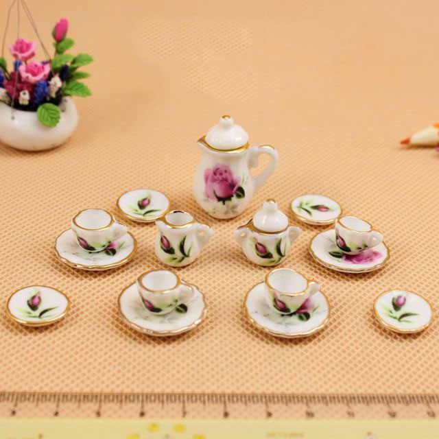 1 set 1:12 mini dollhouse ceramic tea set charm pendant diy necklace accessories jewelry supplies gift for children