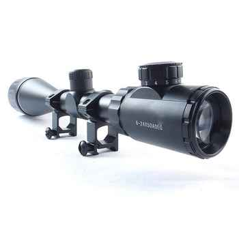 Tactical 11mm/20mm 6-24X50 AOE Green Red Dot Mil-Dot Illuminated Optics Hunting Crosshair Rifle Scope Gun Scope Optical Sight