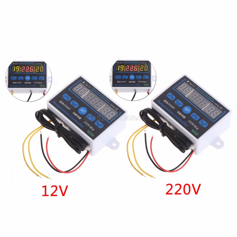 W88 12V/220V 10A Digital LED Temperature Controller Thermostat Control Switch Sensor D28 dropshipping 220v digital led temperature controller 10a thermostat control switch probe measurement range 50 110c