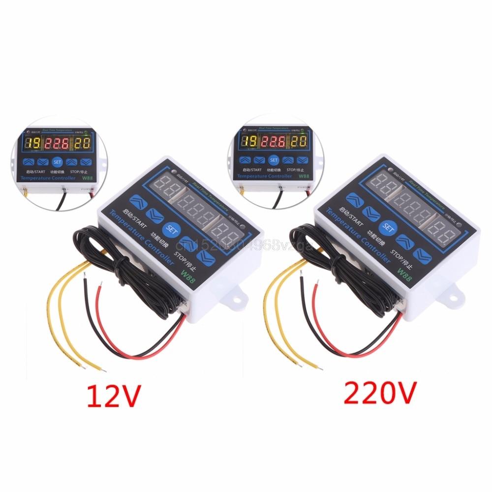 W88 12V/220V 10A Digital LED Temperature Controller Thermostat Control Switch Sensor D28 dropshipping
