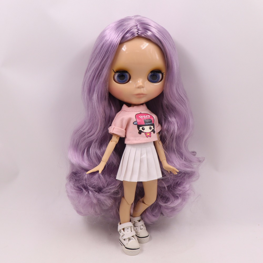 Neo Blythe Doll with Purple Hair, Tan Skin, Shiny Face & Jointed Body 1
