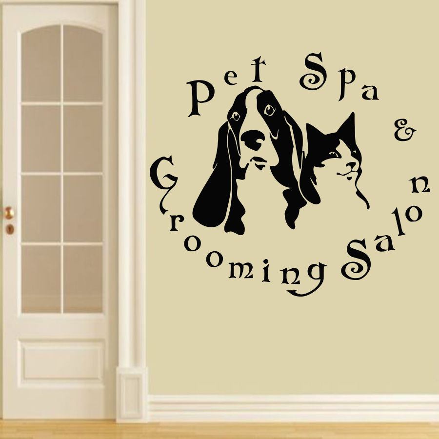 Pet Shop Vinyl Wall Decal Animals Pet Spa Grooming Salon Dogs Cats - Vinyl wall decals animals