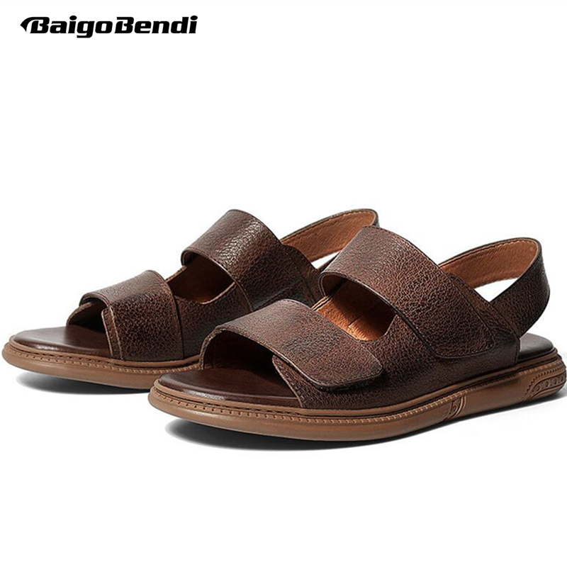 New Arrival Real Leather Mens Hook Loop Sandals Rome Style Man Beach Summer Breathable Casual Shoes Open Toe Soft in Men 39 s Sandals from Shoes