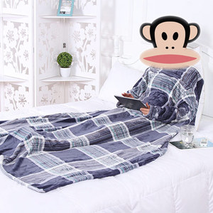 Image 5 - Thick Fleece Throw Blanket with Sleeves Adult Cozy Travel Plaid Warm Plush Winter Blanket For Sofa couette de lit adulte