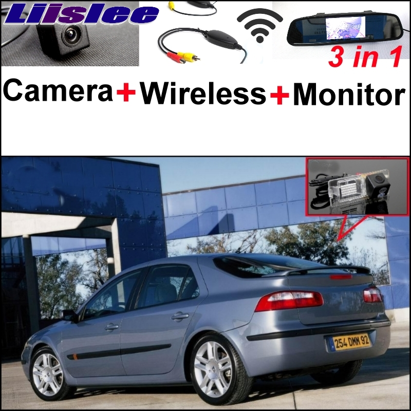 Liislee 3 in1 Special Rear View Camera + Wireless Receiver + Mirror Monitor Easy Parking System For Renault Laguna II III for renault laguna 2 ii grandtour kg0 1
