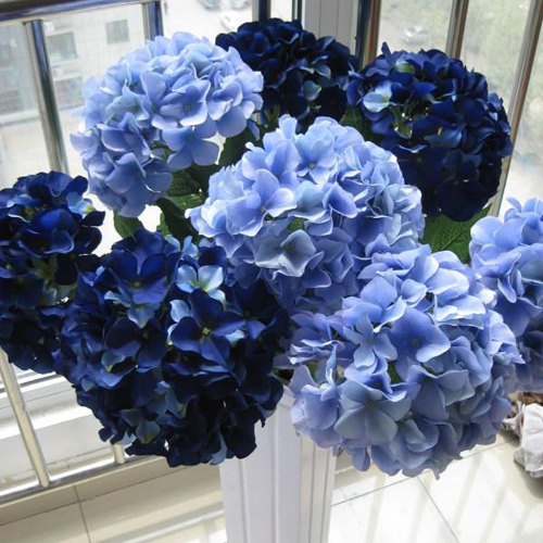 Silk hydrangea navy blue wedding flowers tall wedding table silk hydrangea navy blue wedding flowers tall wedding table centerpieces home decor artificial hydrangea mightylinksfo