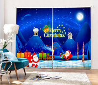 New Arrival Bule Christmas Decorative 3D Blackout Curtains For Living Room Bedding Room Santa Claus Drapes
