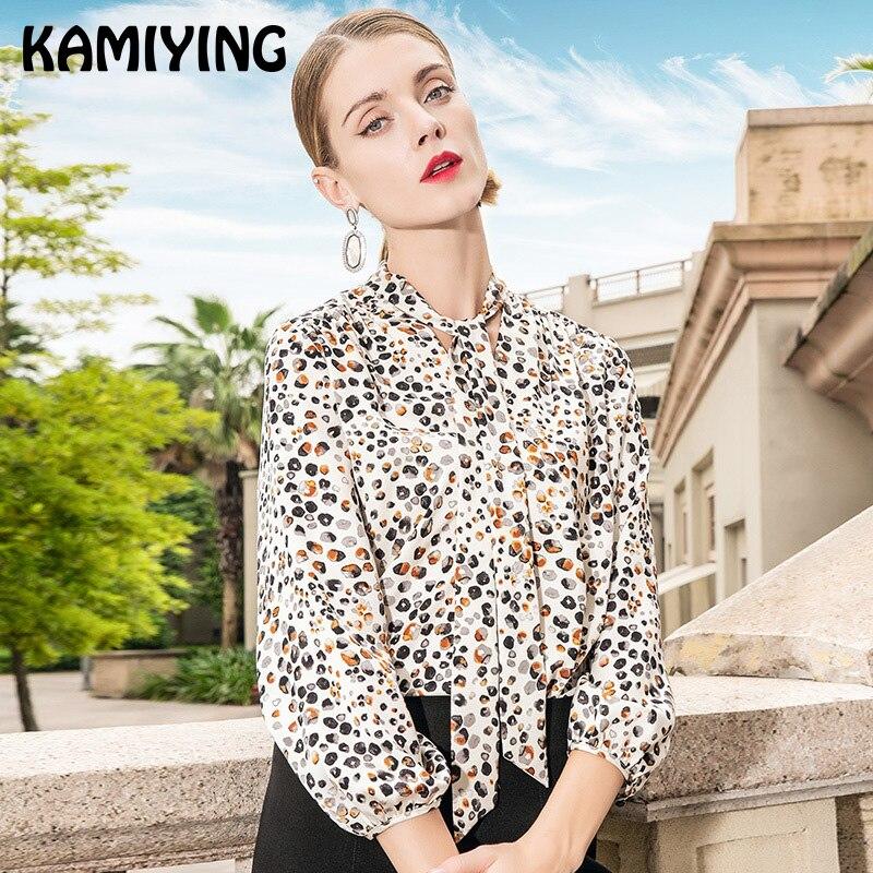 KAMIYING 2019 Trend Neue Frauen Hemd Schmetterling Kragen Temperament OL Stil Dünne Marke Leopard Print Casual Print Damen Hemd - 4