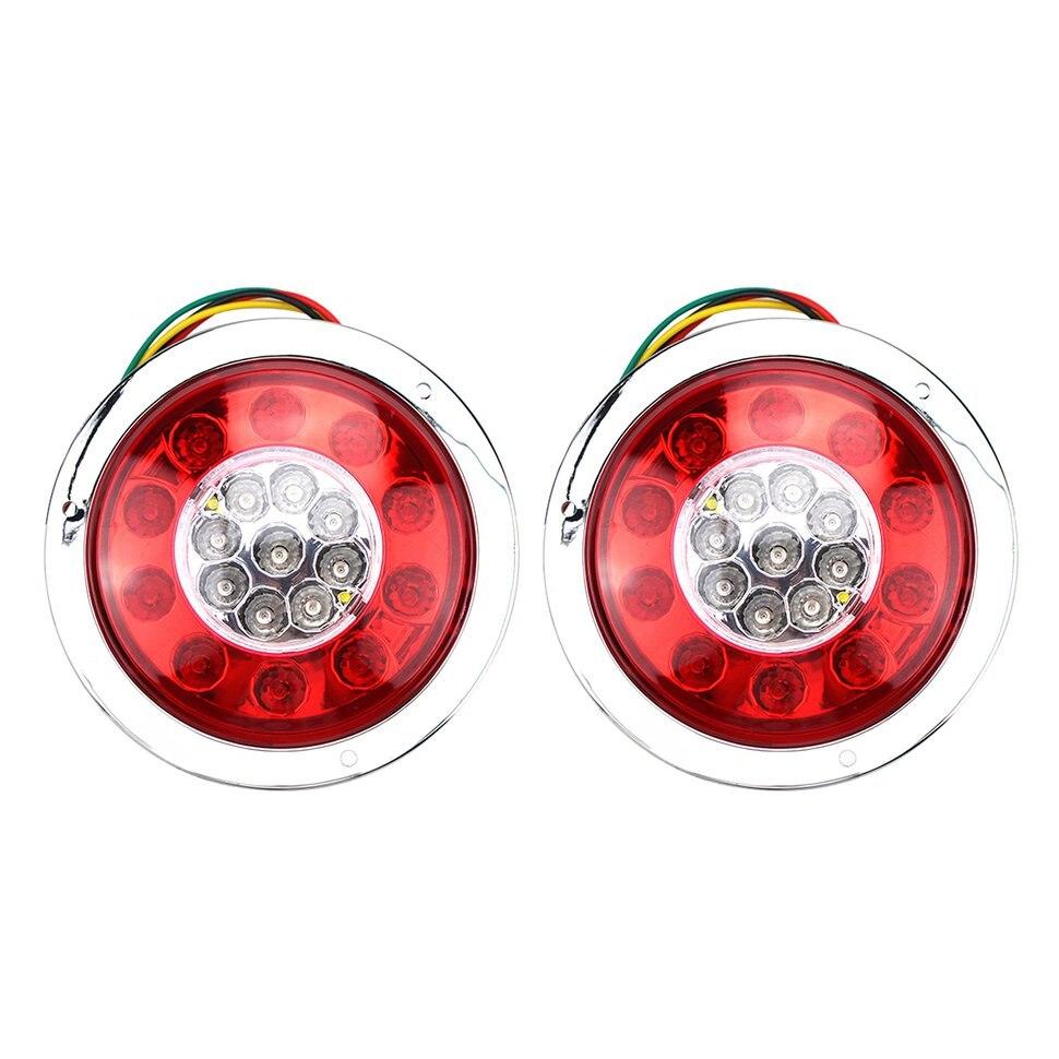 1Pair New 4.3 inch 10V-30V 19 LED Car Truck Trailer Lorry Brake Stop Turn Tail Light Chrome Ring Lamp Waterproof Shockproof Hot