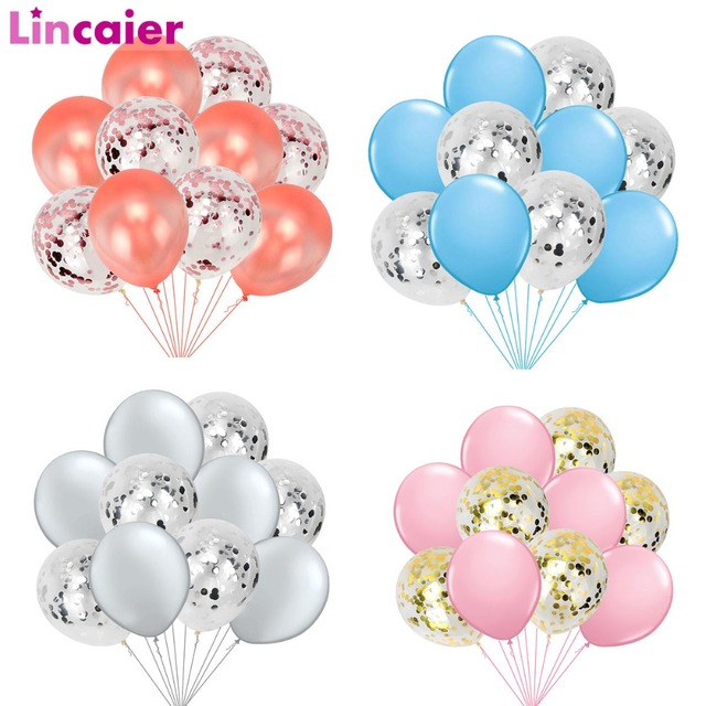 10pcs Confetti Balloons Birthday Latex Ballon Wedding Decoration Baloons Party Supplies Kids Baby Shower Girl Boy Gender Reveal