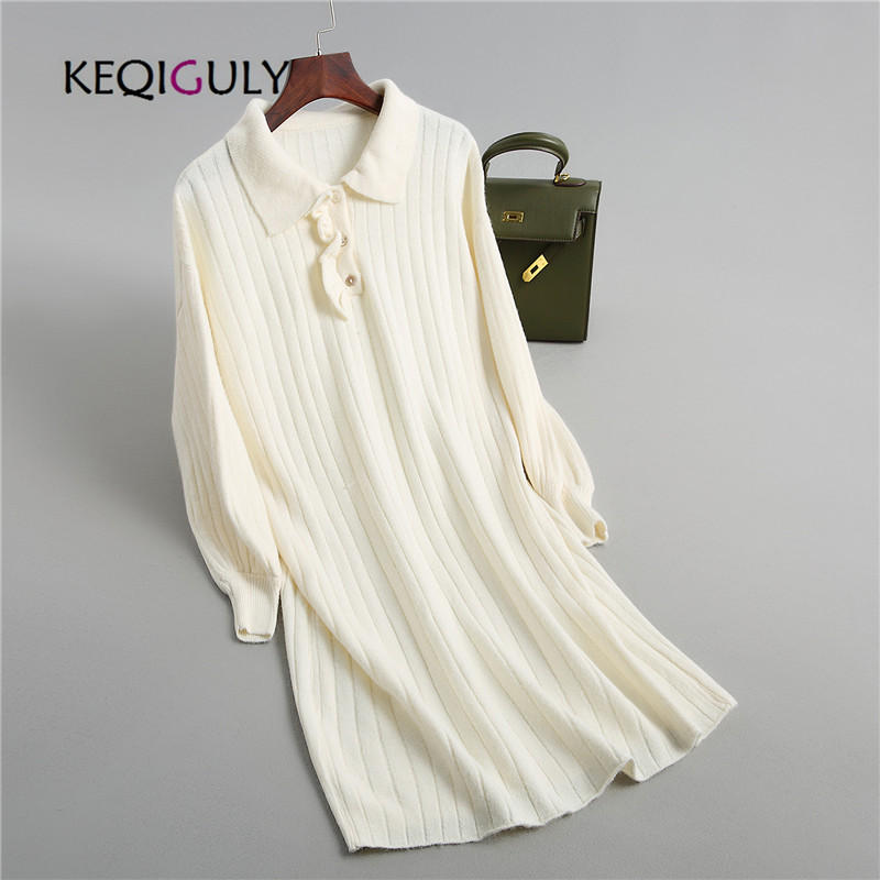 new 2018 autumn winter knitted POLO shirt dress solid knitted button long sleeve lapel sweater dresses female vestidos P2437
