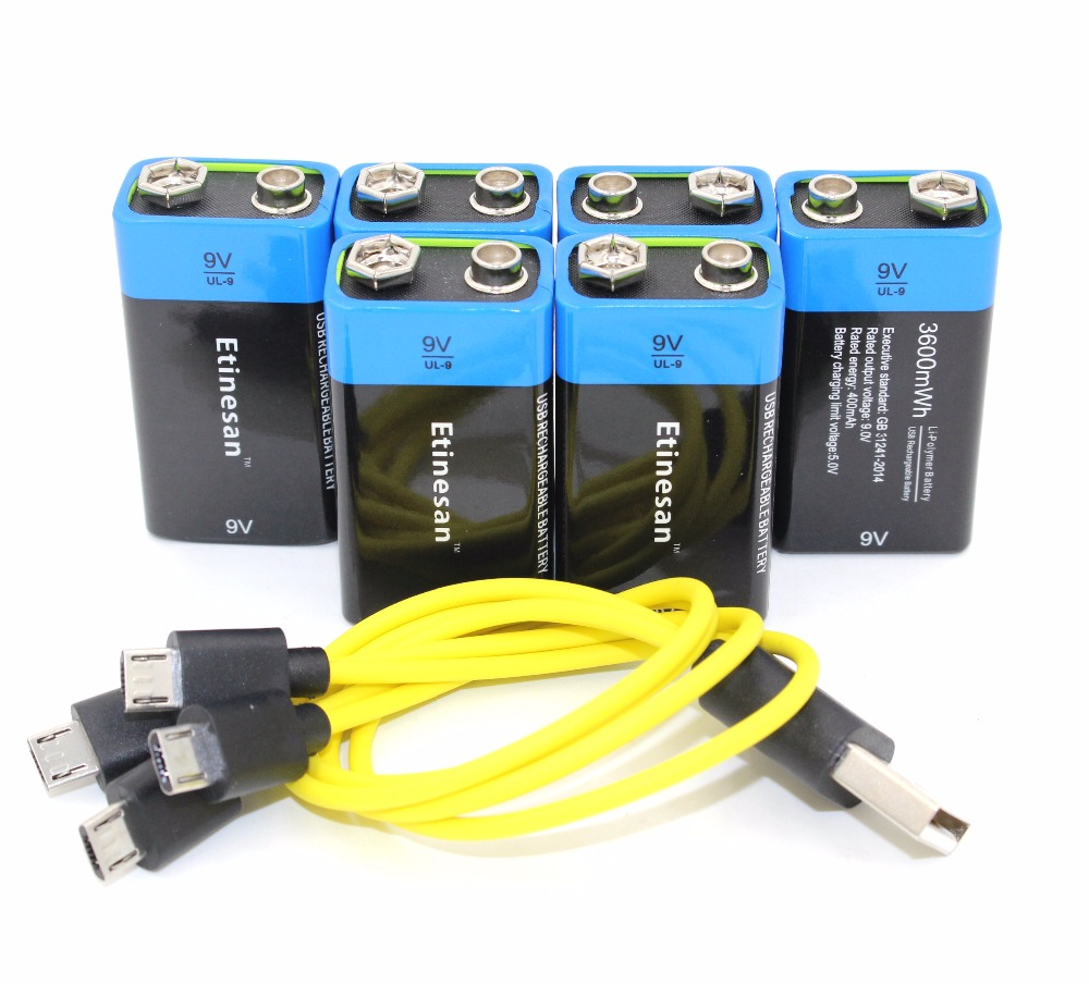 ETINESAN 6pcs 3600MWH 9V li-ion lithium li-polymer rechargeable battery USB battery with USB charging cable 30a 3s polymer lithium battery cell charger protection board pcb 18650 li ion lithium battery charging module 12 8 16v