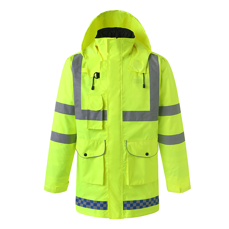 Jackets Nice Adult High Visibility Reflective Raincoat Road Traffic Rescue Raincoat Uniform Coat Thickened Jacket Riding Reflective Cloth