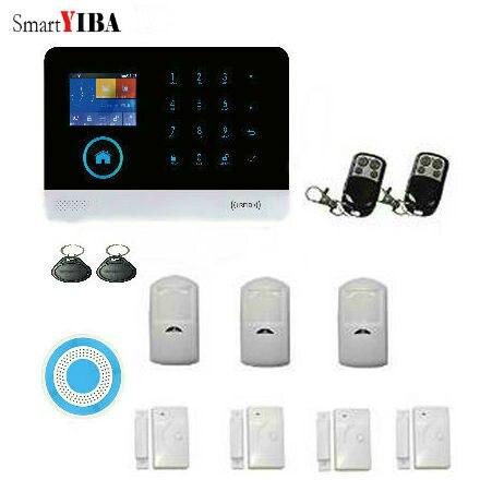 SmartYIBA Métal Télécommande WIFI GSM SMS D'alarme de Sécurité À Domicile Kits Avec PIR Détecteur de Mouvement Sans Fil Bleu Sirène D'alarme