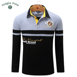 Jungle zone men polo shirt men s business casual solid polo shirt splice long sleeved breathable.jpg 250x250