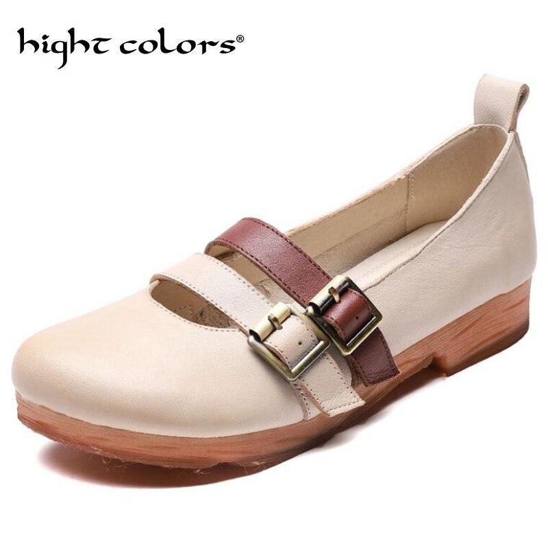 Jaune Beige plate-forme femme chaussure à la main fond souple chaussures décontractées en cuir véritable appartements ceinture boucle chaussures confortables