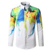 Heren Lange Mouwen Herfst Is Een Nieuwe Mode Kleur Doodle Digitale Print Shirt Leisure Bloemen Shirt Mannen
